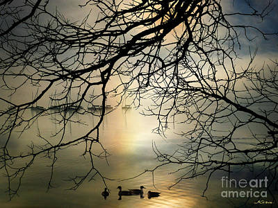 Stille Hjerte Sol Gaar Ned Art Print