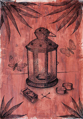 Stillife With Lantern And Night Moths   Art Print by Victoria Yurkova