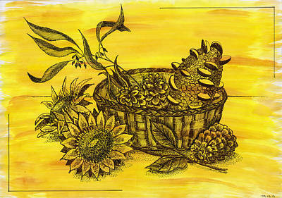 Pine Cones Drawing - Stillife With Sunflowers, Banksia And Pine Cones In The Wicker B by Victoria Yurkova