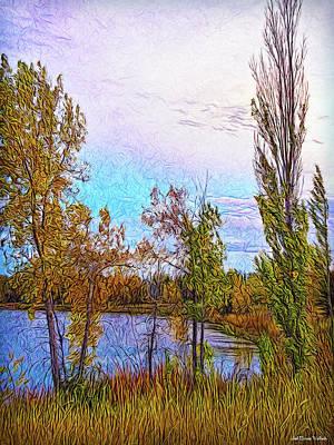 Trippy Digital Art - Stillness On Golden Pond by Joel Bruce Wallach