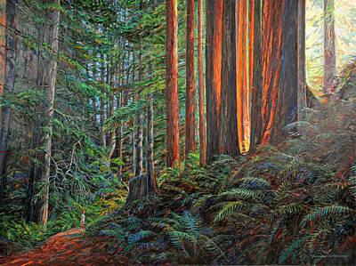 Redwoods Painting - Stillwater Cove Canyon Trail by Gary Symington