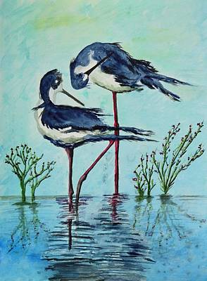 Abstract Bird Painting - Stilts Bathing by Linda Brody