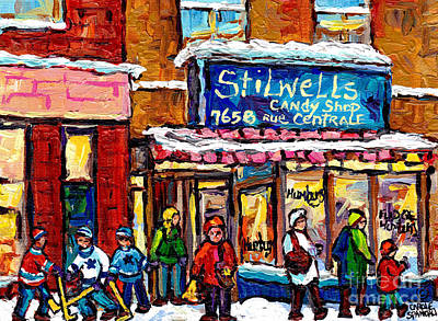 Street Hockey Painting - Stilwell's Candy Shop Montreal Memories Lasalle Verdun Winter City Scene Hockey Art Carole Spandau   by Carole Spandau