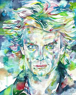 Painting - Sting - The Police - Watercolor Portrait by Fabrizio Cassetta