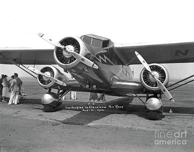 Photograph -  Stinson U Tri-motor Ar Los Angeles To Cleveland Air Race August 1932 by California Views Mr Pat Hathaway Archives