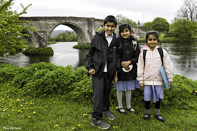 Photograph - Stirling School Children By The Medieval Bridge  by Fran Gallogly