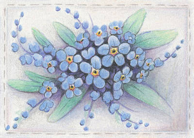 Atc Drawing - Stitched Forget-me-nots by Amy S Turner