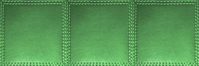 Mixed Media - Stitched  Leather Look Green Emerald   Squares For Wall Decorations by Navin Joshi
