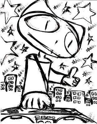 Austin Drawing - Stitchlip With Boombox by Levi Glassrock