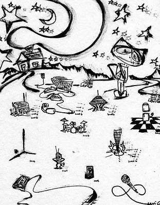 Long Center Drawing - Stitchlip's World  by Levi Glassrock