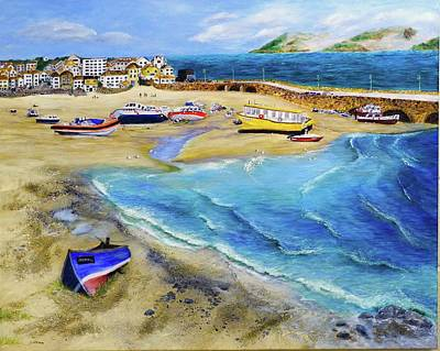 Morning After Painting - St. Ives Bay Morning After Storm by Sarmite Alksne