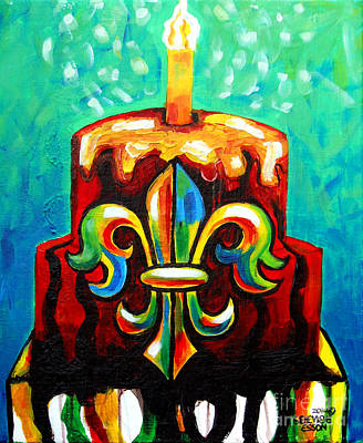 Painting - Stl250 Cakeway To The West Payne Gentry House Fleur De Lis Cake by Genevieve Esson