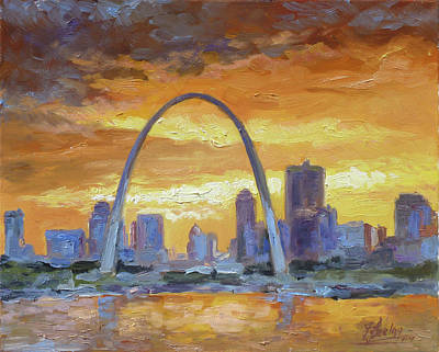 Sunset Painting - St.louis Arch - Sunset by Irek Szelag