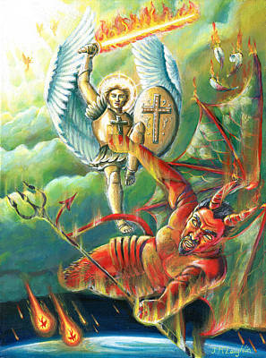Woe Painting - St Michael Defeats The Devil by Jenny McLaughlin