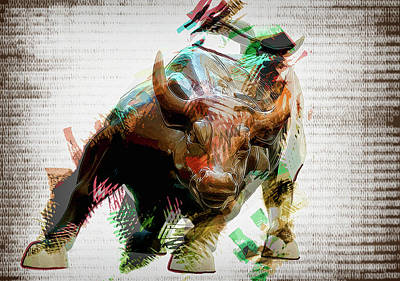 Bull Mixed Media - Stock Bull Digital by Daniel Hagerman