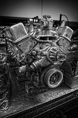 Photograph - Stock Car Race Engine On Bench In Bw by YoPedro