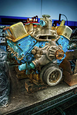 Photograph - Stock Car Race Engine On Bench by YoPedro