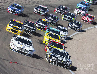 Stock Car Racing In Vegas Art Print by Garland Johnson