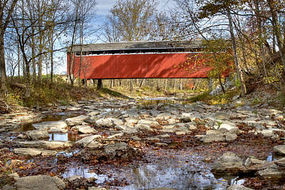 Music Royalty-Free and Rights-Managed Images - Stock-heughter or Enochsburg covered bridge by Jack R Perry