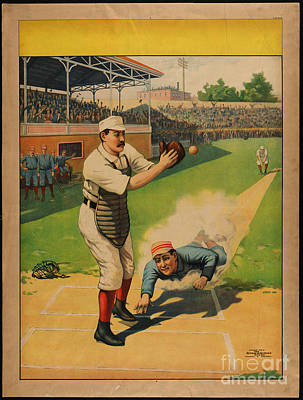Painting - Stock Poster Showing Runner Sliding Past Catcher by Celestial Images