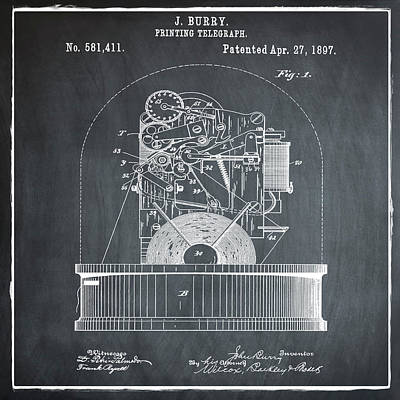 Stock Ticker Patent 1897 Chalk Art Print by Digital Reproductions