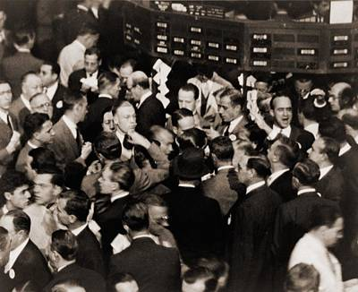 Stock Traders On The Floor Of The New Art Print by Everett