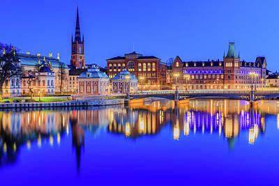 Photograph - Stockholm Blue Hour Postcard by Dejan Kostic