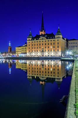 Photograph - Stockholm Blue Hour Reflection by Dejan Kostic
