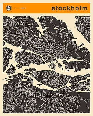 Art Deco Digital Art - Stockholm Map by Jazzberry Blue