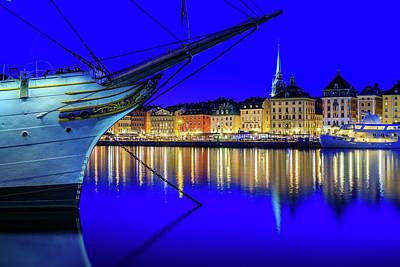 Photograph - Stockholm Old City Blue Hour Serenity by Dejan Kostic