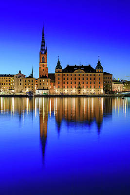 Photograph - Stockholm Riddarholmen Blue Hour Reflection by Dejan Kostic