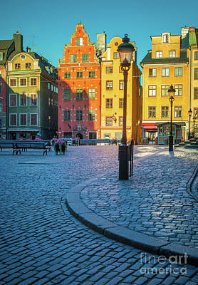 Lamp Post Photograph - Stockholm Stortorget Square by Inge Johnsson