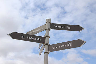 Royalty-Free and Rights-Managed Images - Stockholm Street Signs by Linda Woods