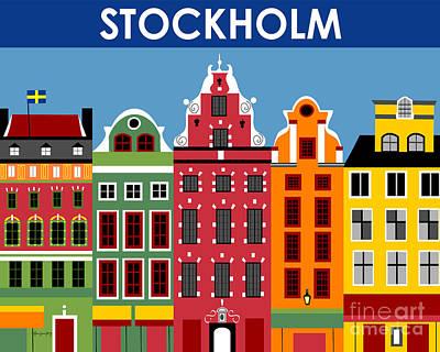 Sweden Digital Art - Stockholm Sweden Horizontal Scene by Karen Young