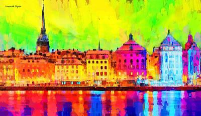 Canal Digital Art - Stockholm Sweden - Pa by Leonardo Digenio