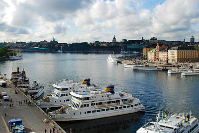 Sweden Photograph - Stockholm Sweden Waterfront Harbor Buildings by Just Eclectic