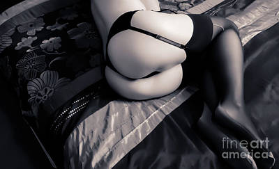 Bum Photograph - Stockings And Suspenders by Alan Lloyd