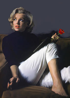 Marylin Painting - Stoic Beauty  Marilyn Monroe  by Iconic Images Art Gallery David Pucciarelli