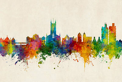 Digital Art - Stoke-on-trent England Skyline by Michael Tompsett