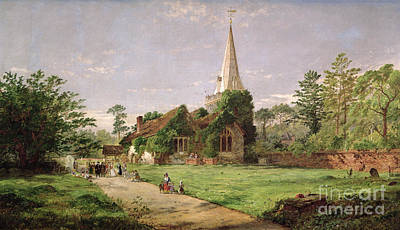 Stoke Painting - Stoke Poges Church by Jasper Francis Cropsey