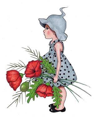 Red Poppies Drawing - Stolen Flowers by Joyce Geleynse