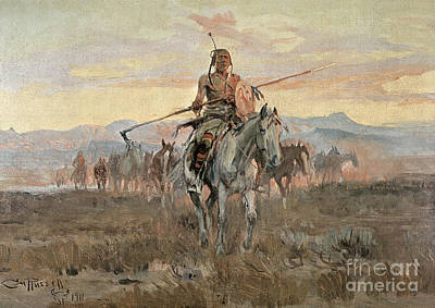 Staff Painting - Stolen Horses by Charles Marion Russell