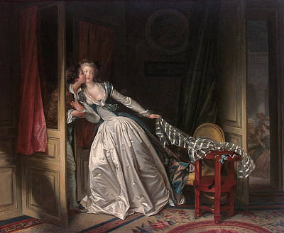 Couple Painting - Stolen Kiss by Jean-Honore Fragonard