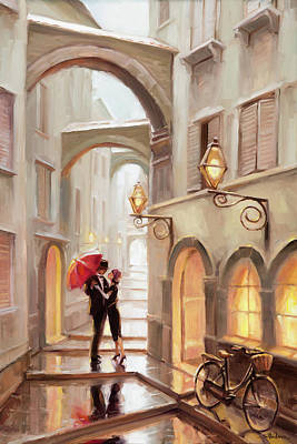 Fashion Paintings - Stolen Kiss by Steve Henderson