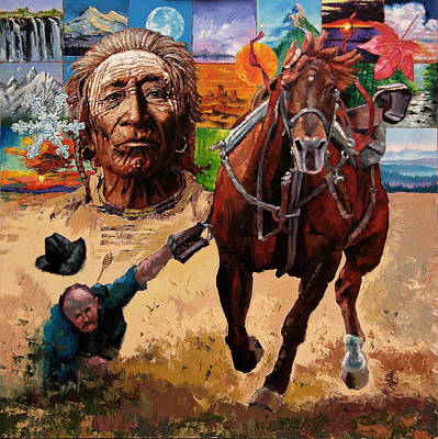 Cowboys Painting - Stolen Land by John Lautermilch