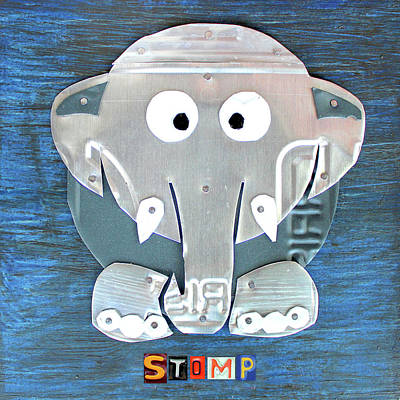 Elephants Mixed Media - Stomp The Elephant Recycled License Plate Animal Art by Design Turnpike