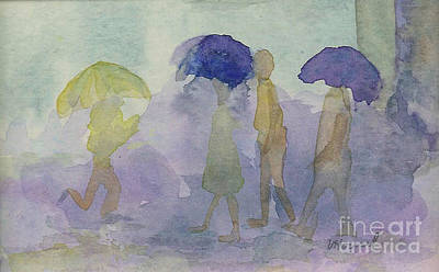 Stomping In The Rain Art Print by Vicki  Housel