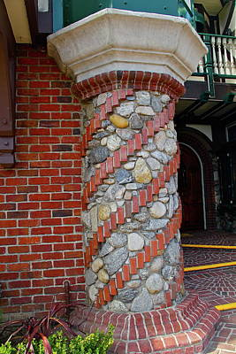 Photograph - Stone And Brick Pillar by Denise Mazzocco