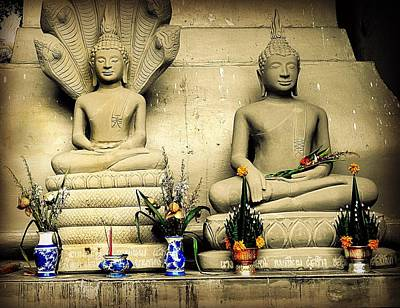 Photograph - Stone And Flowers - Buddhist Shrine by Ian Gledhill