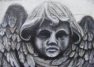 Monotone Painting - Stone Angel by Jean LeBaron